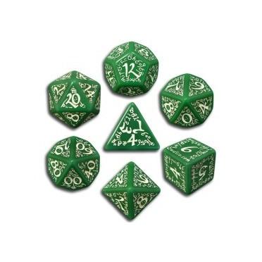 Set de Dés Elfiques Verts et Blancs