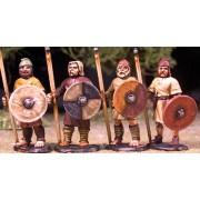 Levées Anglo-Saxonnes avec lances et boucliers