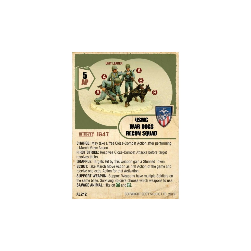 Buy Dust Tactics - USMC War Dogs Recon Squad - Board Game