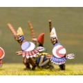 Suit Wearers in pointed hat with Sword, Javelin and Shield 0