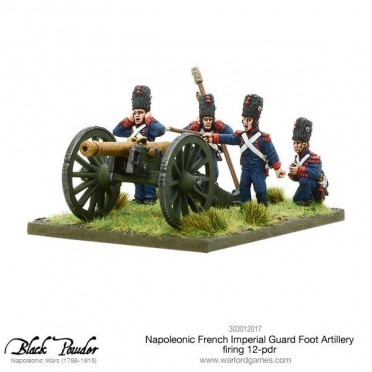 Napoleonic French Imperial Guard Foot Artillery firing 12-pdr
