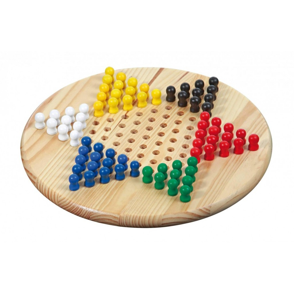 Dames chinoises (7 ans et +). Un jeu de stratégie traditionnel chinois avec un plateau en bois massif. De 2 à 6 joueurs.