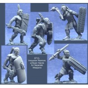 Iroquoian Warriors with Open Hands for Separate Weapons