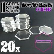 Acrylic Bases - Hexagonal 30 mm Clear
