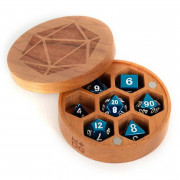 Premium Wood Round Chest Dice Case: Cherry