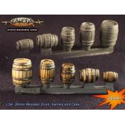 28mm Wooden Drum, Barrels and Cask
